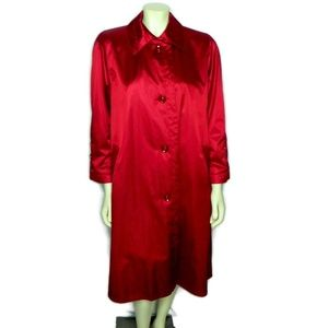 London Fog Towne Red Satin Trench Coat